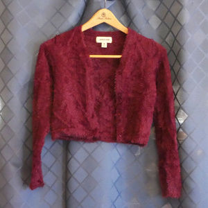 Lands' End Cropped Fuzzy Sweater w/Hint of Sparkl